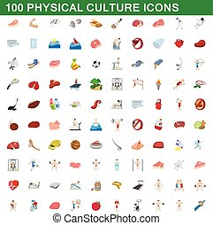100 physical culture icons set, cartoon style