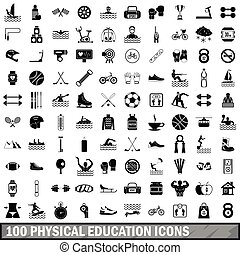 100 physical education icons set, simple style