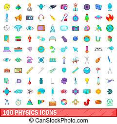100 physics icons set, cartoon style