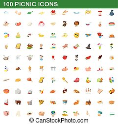 100 picnic icons set, cartoon style