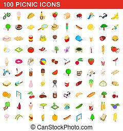 100 picnic icons set, isometric 3d style