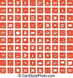 100 plan icons set grunge orange