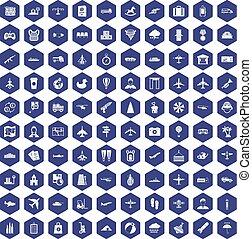 100 plane icons hexagon purple