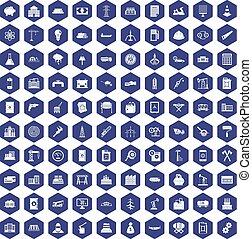 100 plant icons hexagon purple