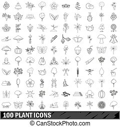 100 plant icons set, outline style