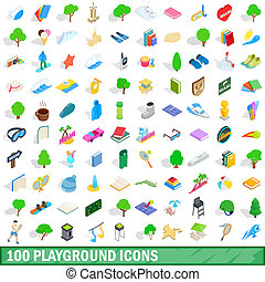 100 playground icons set, isometric 3d style
