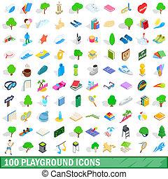 100 playground icons set, isometric 3d style