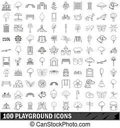 100 playground icons set, outline style