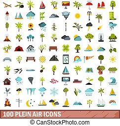 100 plein air icons set, flat style