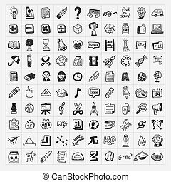 100, podporovat škola, klikyháky, hand-draw, ikona, dát
