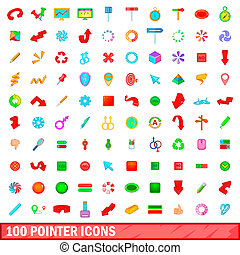 100 pointer icons set, cartoon style