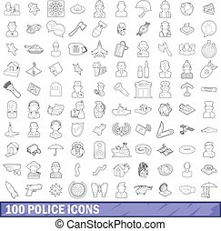 100 police icons set, outline style