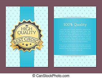 100 por ciento, alto, calidad, premio, mejor, opción, vector