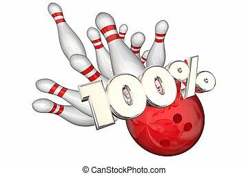 100 por ciento, total, mejor, raya, perfecto, huelga lanzamiento, 3d, ilustración