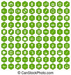 100 portable icons hexagon green