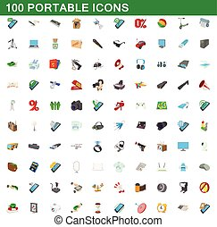 100 portable icons set, cartoon style