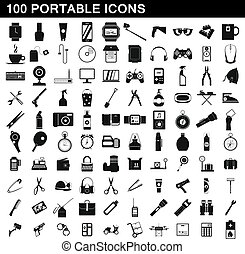 100 portable icons set, simple style