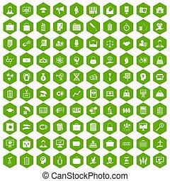 100 portfolio icons hexagon green