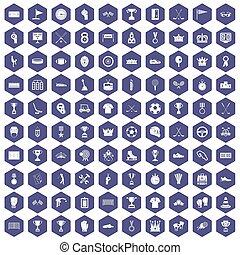100, premios, iconos, hexágono, púrpura