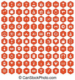 100 premium icons hexagon orange