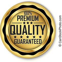 100% premium quality guaranteed gold label, vector illustration