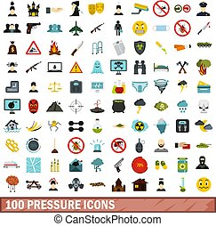 100 pressure icons set, flat style