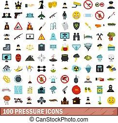 100 pressure icons set, flat style