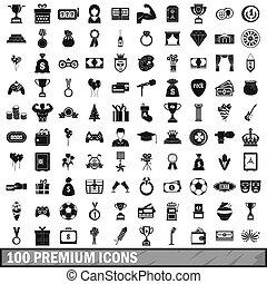 100, prima, iconos, conjunto, simple, estilo
