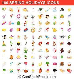 100, primavera, vacanze, pilotaggi, set, isometrico, 3d, stile