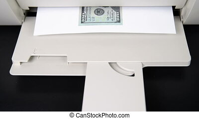 $ 100 printed from the printer. Counterfeiters. Money and...