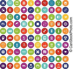 100 printer icons set color