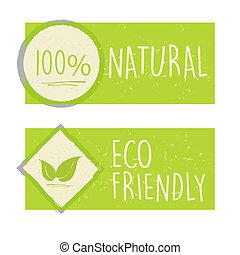 100 procenten, natuurlijke , en, eco, vriendelijk, met, blad, meldingsbord, in, groene, banieren