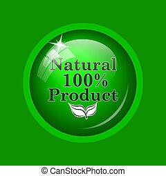 100 procenten, natuurlijke , product, pictogram