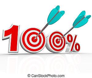 100 procenten, pijl, in, doelen, perfect, partituur