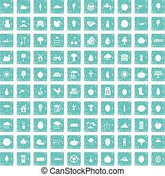 100 productiveness icons set grunge blue
