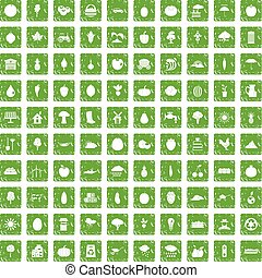 100 productiveness icons set grunge green