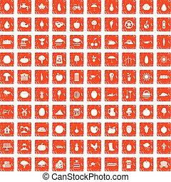 100 productiveness icons set grunge orange
