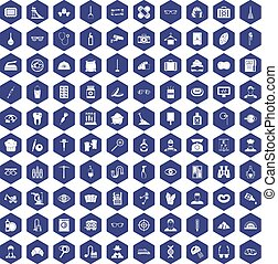 100 profession icons hexagon purple