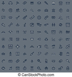 100 professional grey web icon set