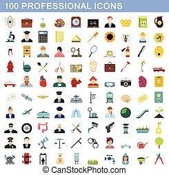 100 professional icons set, flat style