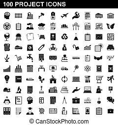 100, progetto, stile, set, icone semplici