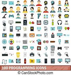 100 programming icons set, flat style