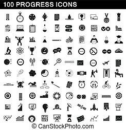 100 progress icons set, simple style