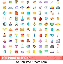 100 project icons set, cartoon style
