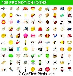 100 promotion icons set, cartoon style