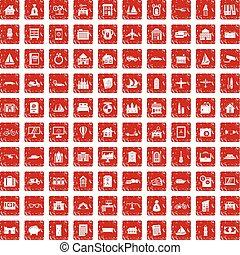 100 property icons set grunge red