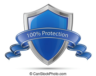 100%, protection., escudo, símbolo