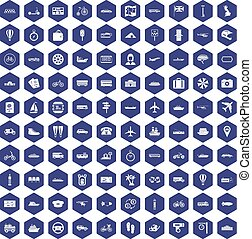100 public transport icons hexagon purple