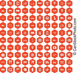 100 public transport icons hexagon orange