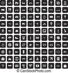 100 public transport icons set black